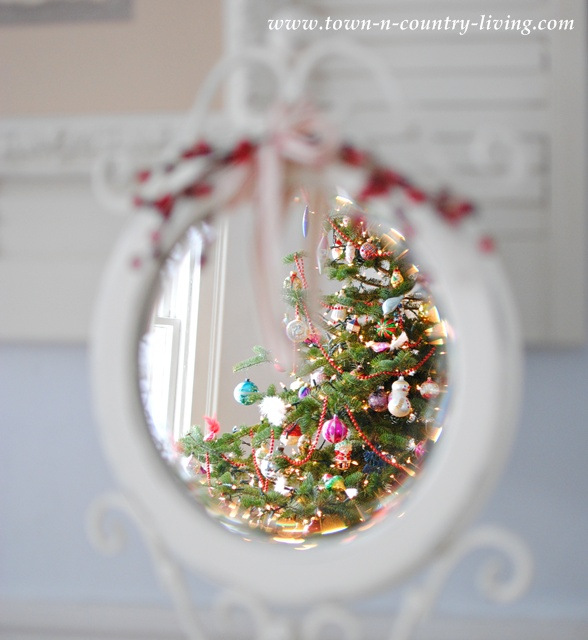 Reflections of Christmas in a shabby mirror