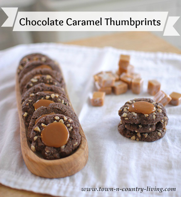 Chocolate Caramel Thumbprint Cookies via Town and Country Living