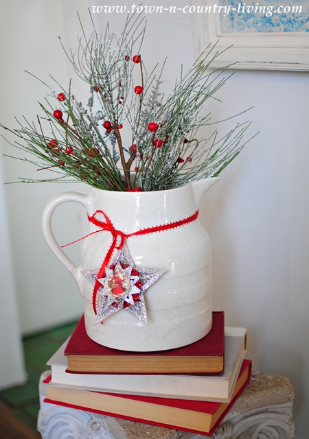 White ironstone pitcher with Christmas greenery