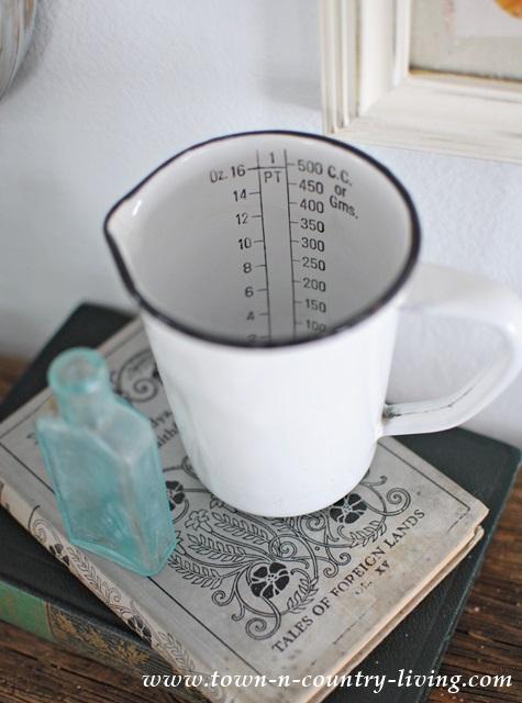 Vintage enamelware measuring cup