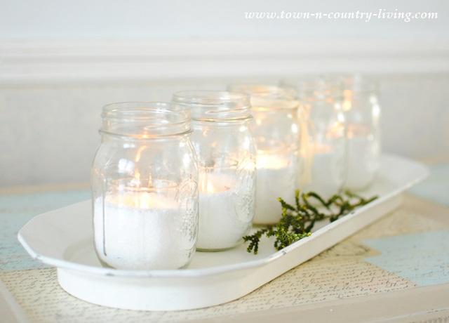 Bon Chef platter with mason jar candles