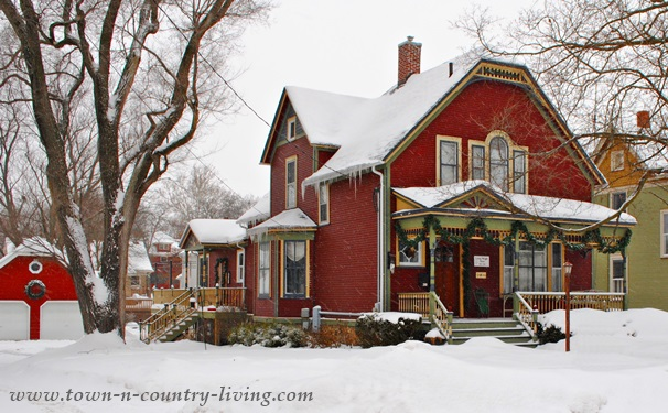 Red historic home in Woodstock