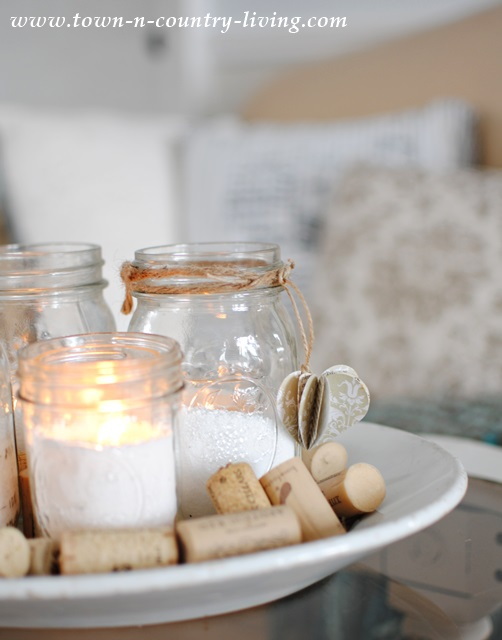 Mason jar votive candles at Town and Country Living