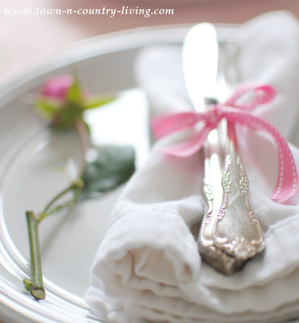 Vintage silverware at a Valentine's table setting