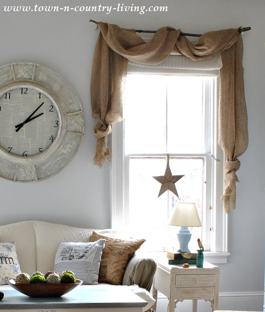 Landscape Burlap Curtain Swags via Town and Country Living