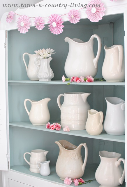 Collection of White Ironstone Pitchers