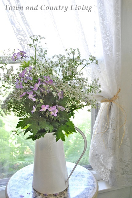 Country Wildflowers in an Enamelware Pitcher