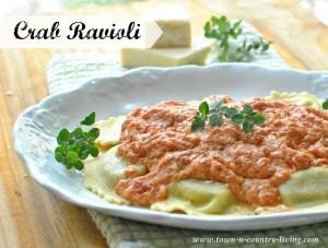 Crab Ravioli with Tomato Vodka Sauce