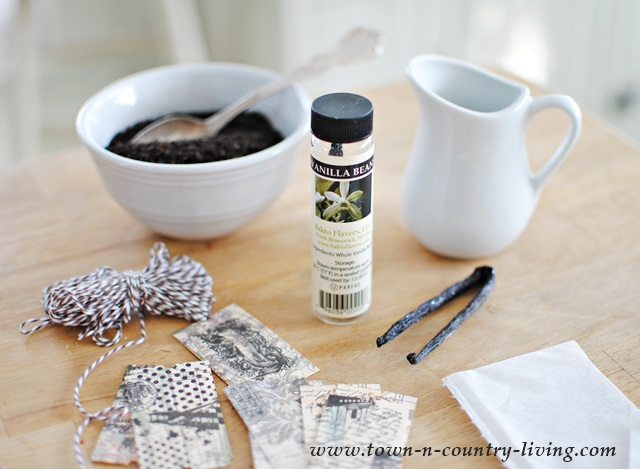 Supplies for making flavored tea bags