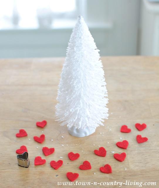How to make Valentine bottle brush trees