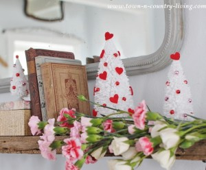 How to make Valentine bottle brush trees