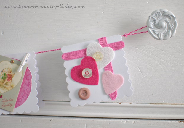 Handmade Valentine's Day Cards with Felt Hearts