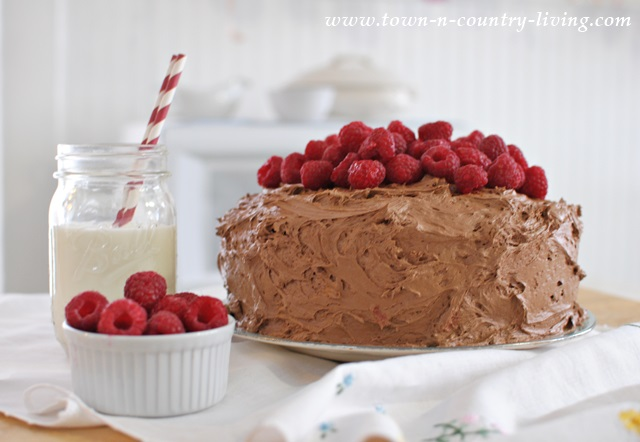 Dark Chocolate Raspberry Cake by Town and Country Living