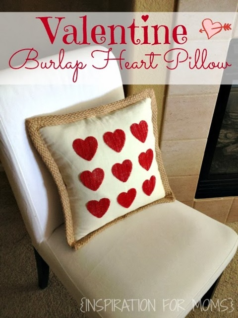 Inspiration for Moms No-Sew Burlap Heart Pillow Tutorial