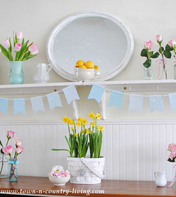 Spring Flowers in a Farmhouse Kitchen