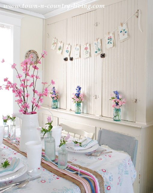 Spring decorating in a farmhouse kitchen nook