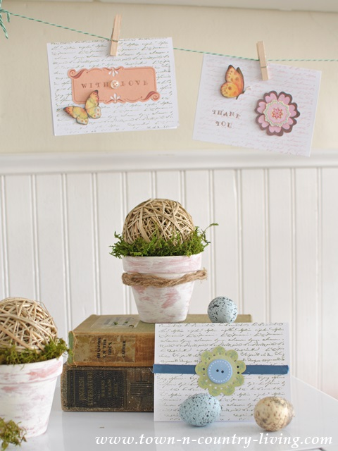 Spring Vignette using greeting cards as bunting
