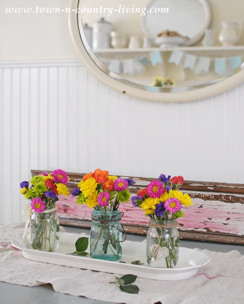 Colorful springtime centerpiece