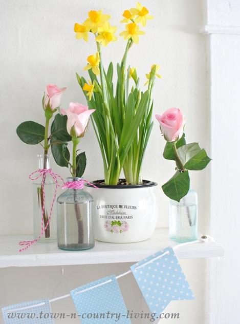 Spring flower display in a farmhouse kitchen