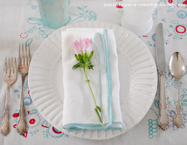 Spring Table Setting on a Vintage Table Cloth