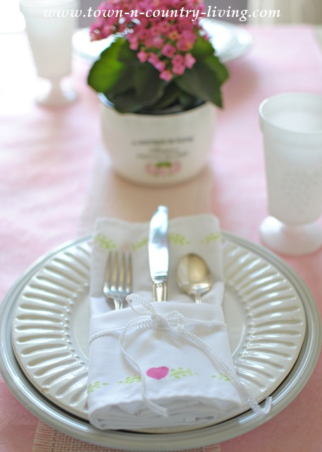 Spring Table with Stenciled Napkins
