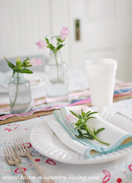 Spring table setting in a farmhouse kitchen