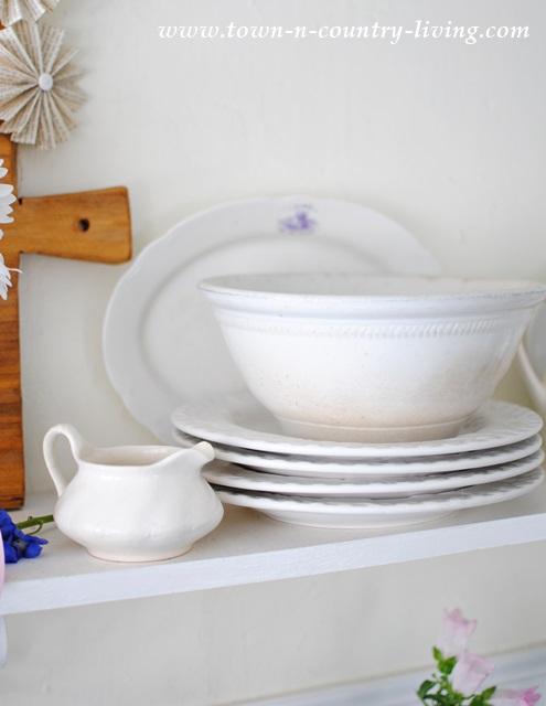 White ironstone bowl in farmhouse kitchen