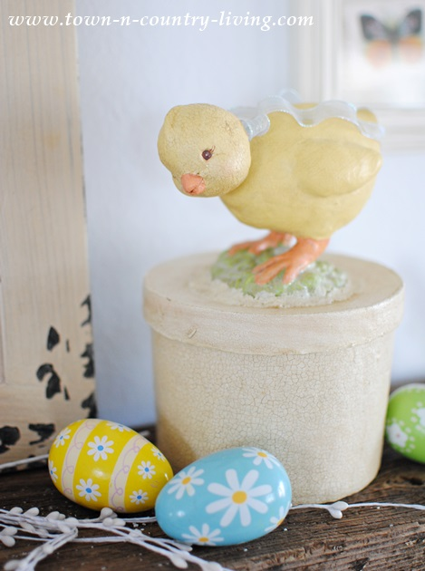 Easter decorating with chicks and eggs