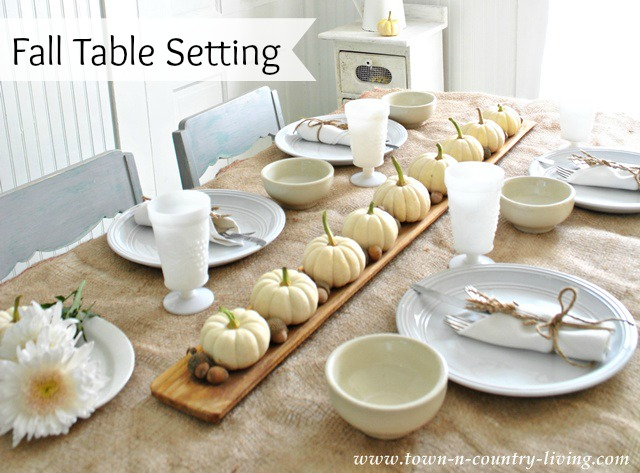 Pretty Fall Tablescape with Baby Boo Pumpkins
