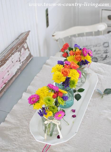 Summer Flowers in Mason Jars
