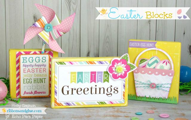 Wood Easter Blocks via Ribbons and Glue