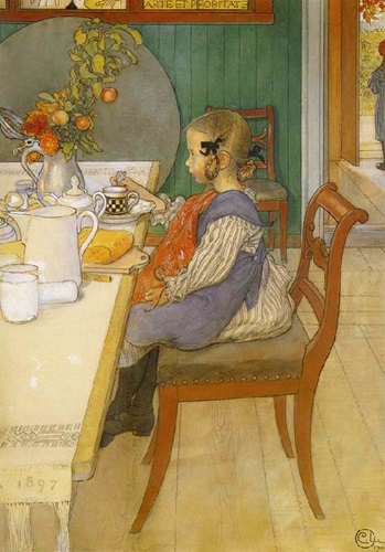 A Late Riser's Miserable Breakfast by Carl Larsson