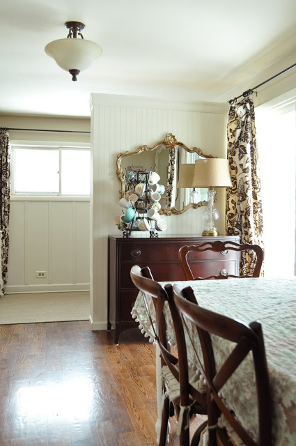 Dining Nook with rich wood floors