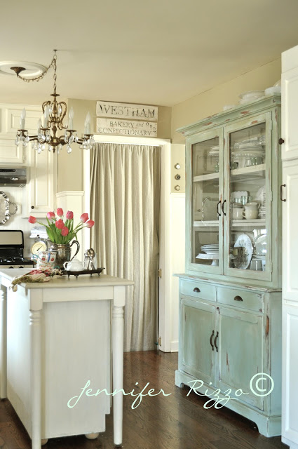 Jennifer Rizzo's Blue Kitchen Hutch