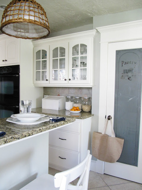 Etched Pantry Door in Traditional Kitchen