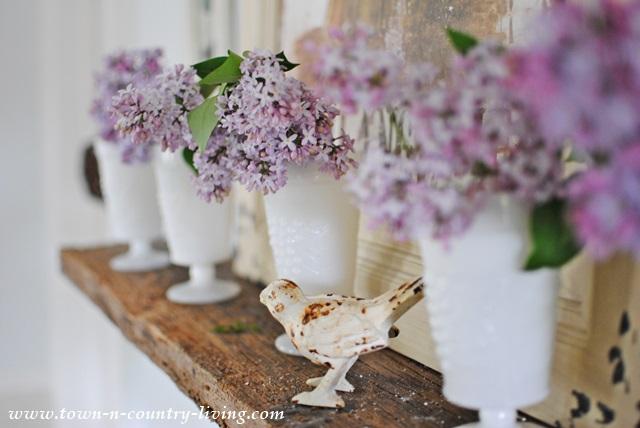 Lilacs in White Milk Glass