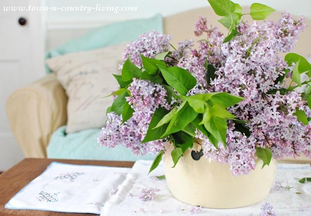 Lilacs in a Farmhouse Living Room