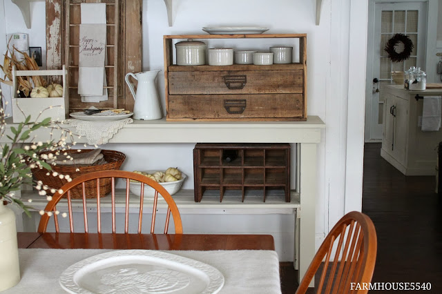 Mix of Woods and White in Farmhouse Dining Room