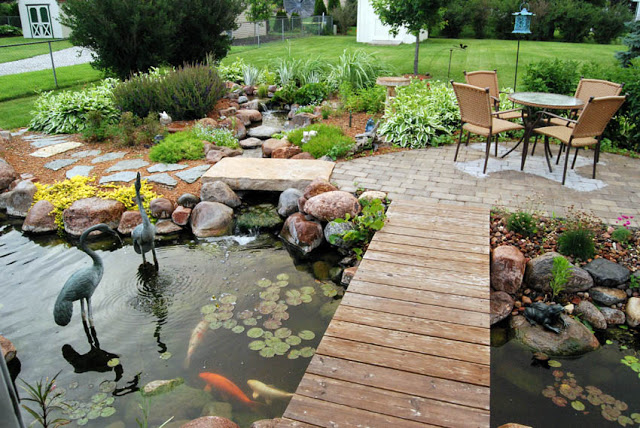Backyard Pond with Walkway and Patio