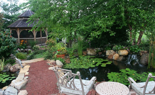 Backyard Pond with Gazebo