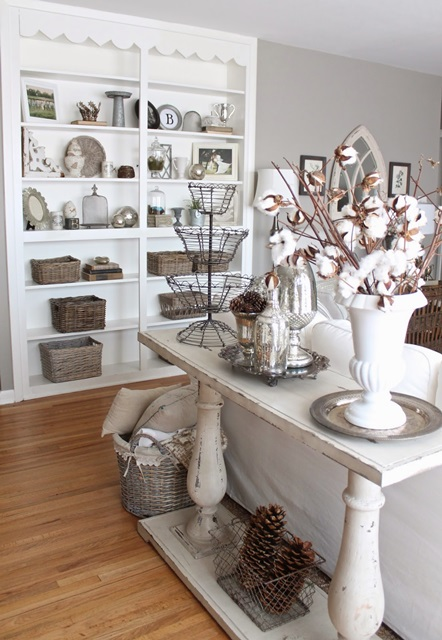 Sofa Table and Built-in Bookcase Beautifully Arranged