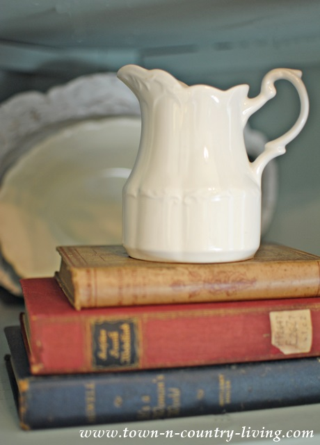 Ironstone Pitcher with Red, White, and Blue Vintage Books