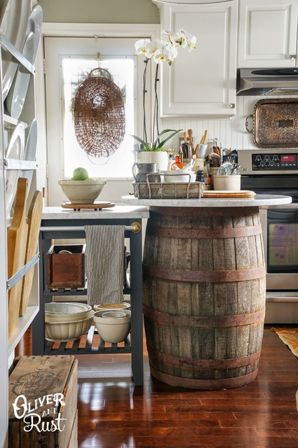 Traditional Kitchen with Barrel as Table