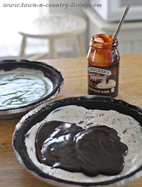 Layer Hot Fudge over Ice Cream for Pie
