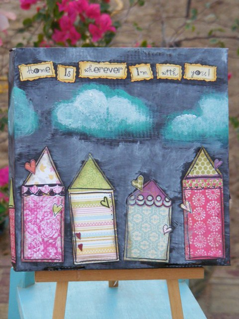 Mixed Media Artwork on a Pizza Box from Doodle Buddies