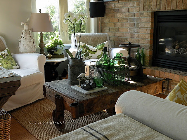 Rustic vintage cart becomes artful coffee table