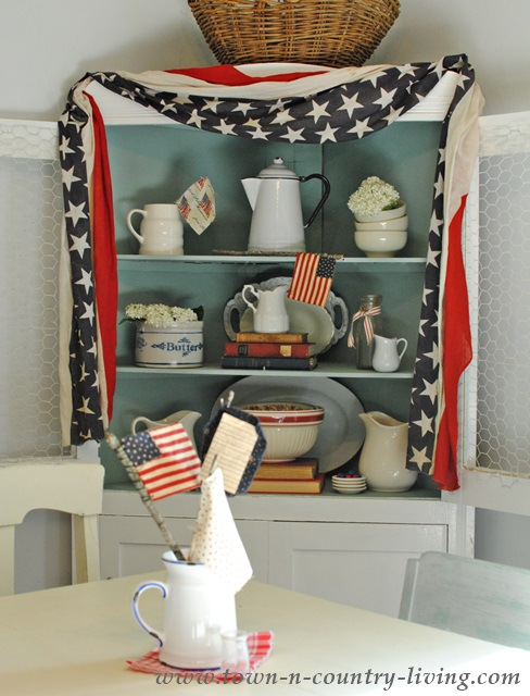 Decorating a Dining Hutch for 4th of July