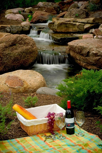 Outdoor Living with a picnic by a waterfall