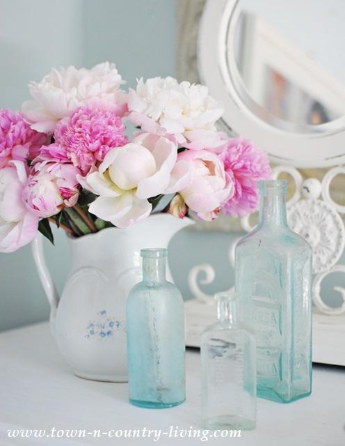 Pink Peonies and Vintage Bottles