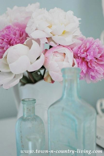 Pink Peonies with Vintage Aqua Bottles